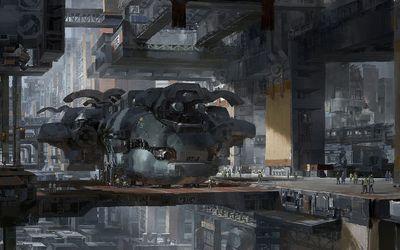 Spaceship garage wallpaper