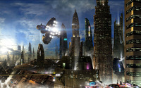 Spaceship in the city [2] wallpaper 1920x1200 jpg
