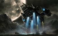 Spaceship in the moonlight wallpaper 2880x1800 jpg