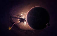 Spaceships and purple planet wallpaper 1920x1200 jpg