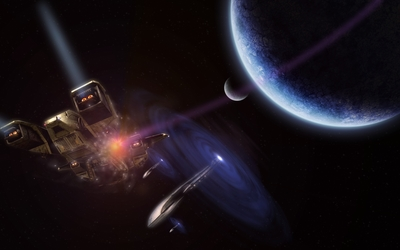 Spaceships exiting the portals by the planet wallpaper