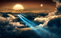 Spaceships flying towards the beautiful sunset wallpaper 1920x1200 jpg