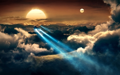 Spaceships flying towards the beautiful sunset wallpaper