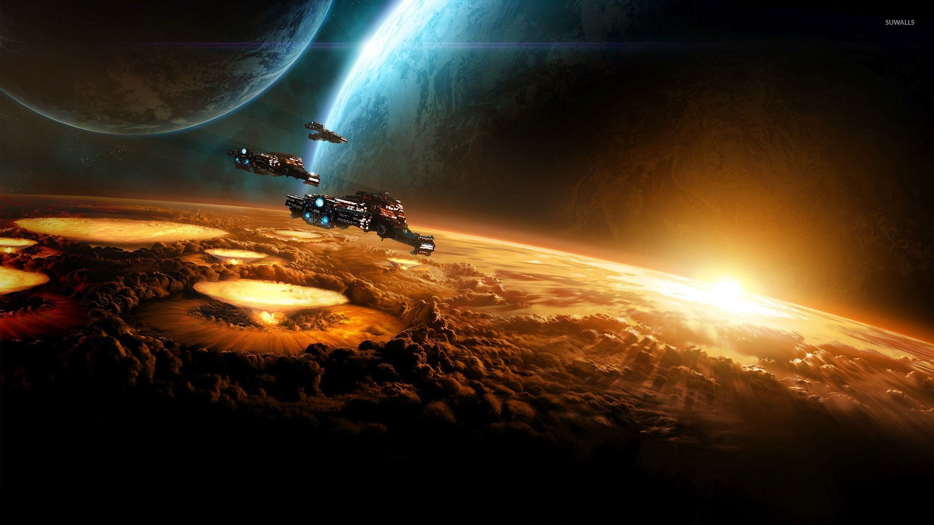 spaceships heading to the light wallpaper fantasy