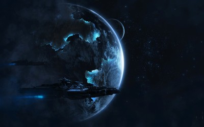 Spaceships orbiting the planet wallpaper
