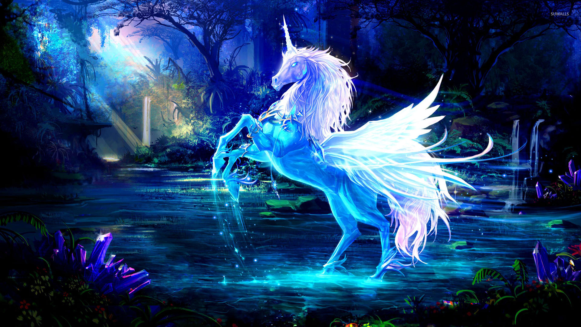sparkling crystal unicorn wallpaper - fantasy wallpapers - #18673