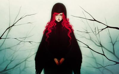Spooky redhead in the forest wallpaper