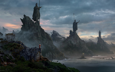 Statues on cliffs wallpaper