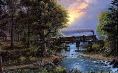 Steam locomotive thorugh the forest wallpaper