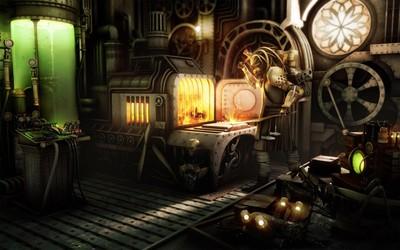 Steampunk factory worker wallpaper