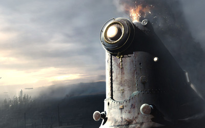 Steampunk locomotive wallpaper