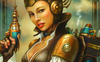 Steampunk Rocket Girl wallpaper 1920x1200 jpg