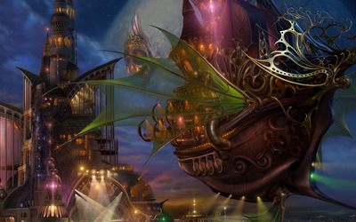 Steampunk ship wallpaper