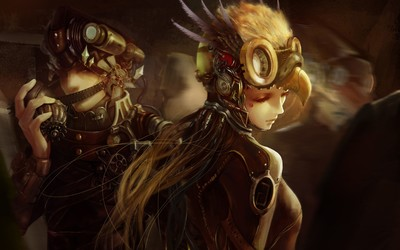 Steampunk soldiers wallpaper