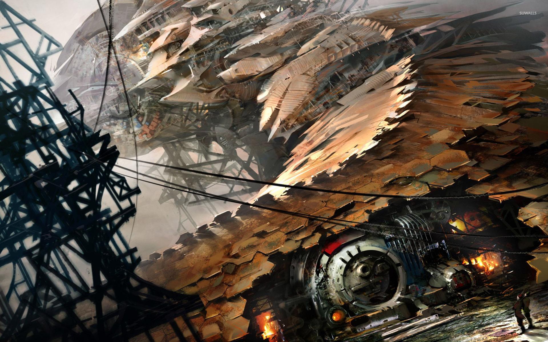 Steampunk spaceship wallpaper
