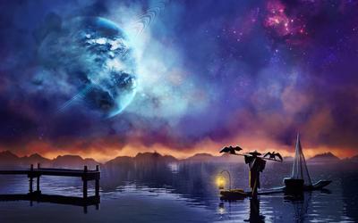 Stranger crossing the lake at night wallpaper