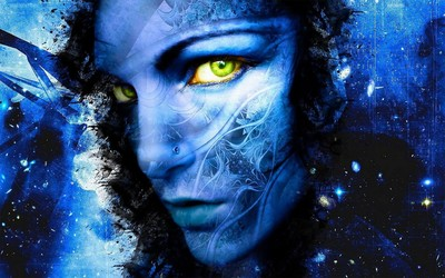 Stylized blue face of a woman wallpaper