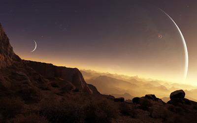 Sunset light above the planet wallpaper