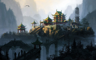 Temple in the mountain valley wallpaper