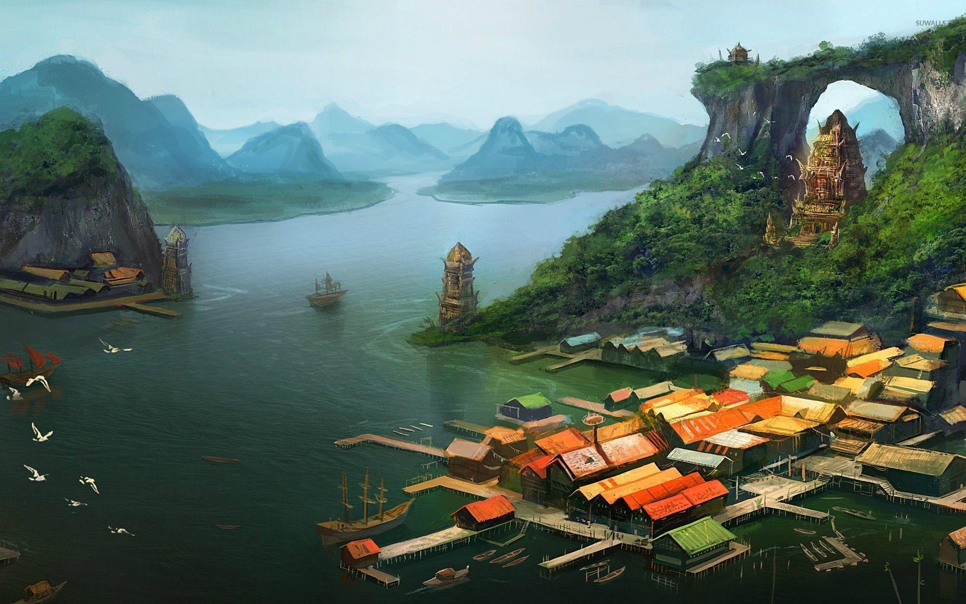 Amazing Wallpaper Mountain Polygon - town-in-the-lagoon-26628-1920x1200  Image_416452.jpg