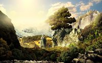 Tree of life on top of the rocky cliffs wallpaper 2560x1600 jpg