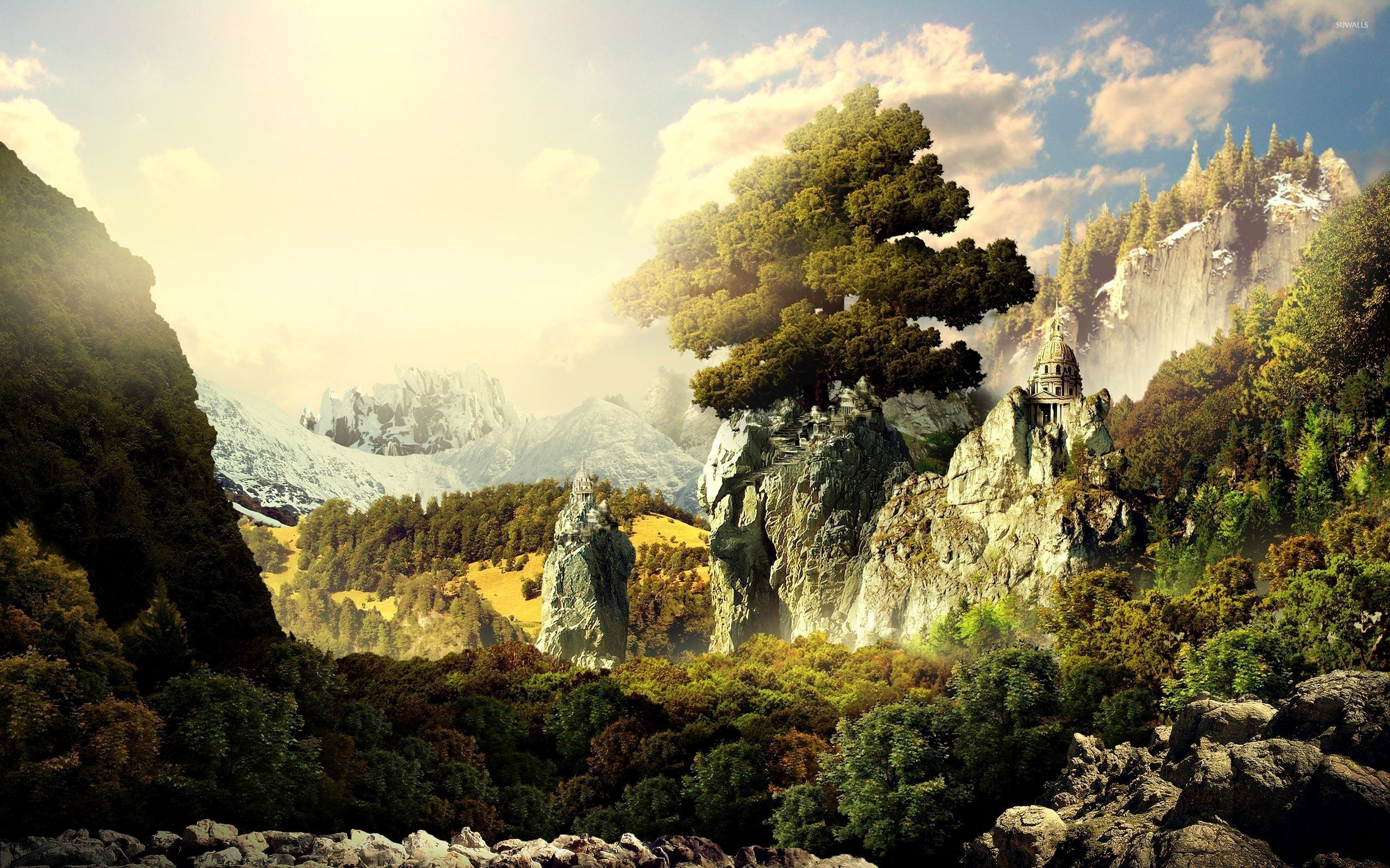 Tree Of Life On Top Of The Rocky Cliffs Wallpaper Fantasy