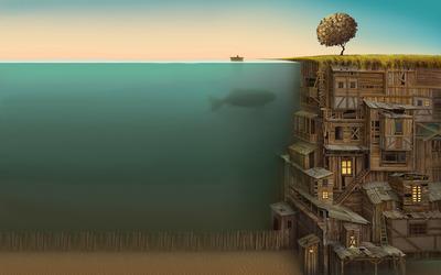 Underwater city wallpaper