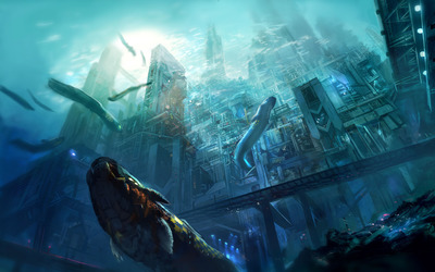 Underwater megalopolis wallpaper