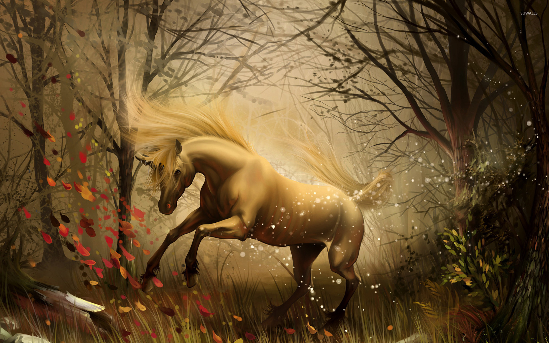 Unicorn In The Enchanted Forest Wallpaper