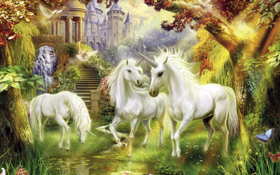 Unicorns in the castle garden wallpaper