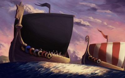 Viking ships wallpaper