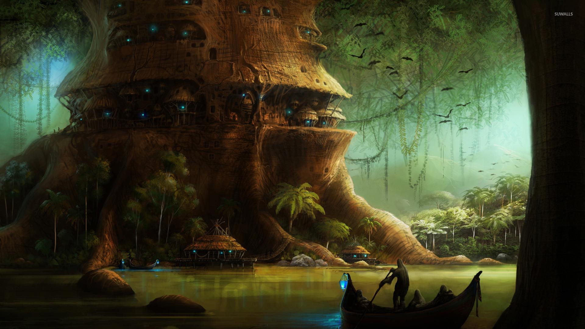 Village In A Tree Wallpaper Fantasy Wallpapers 17098