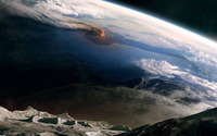 Volcano eruption view from the moon wallpaper 1920x1200 jpg