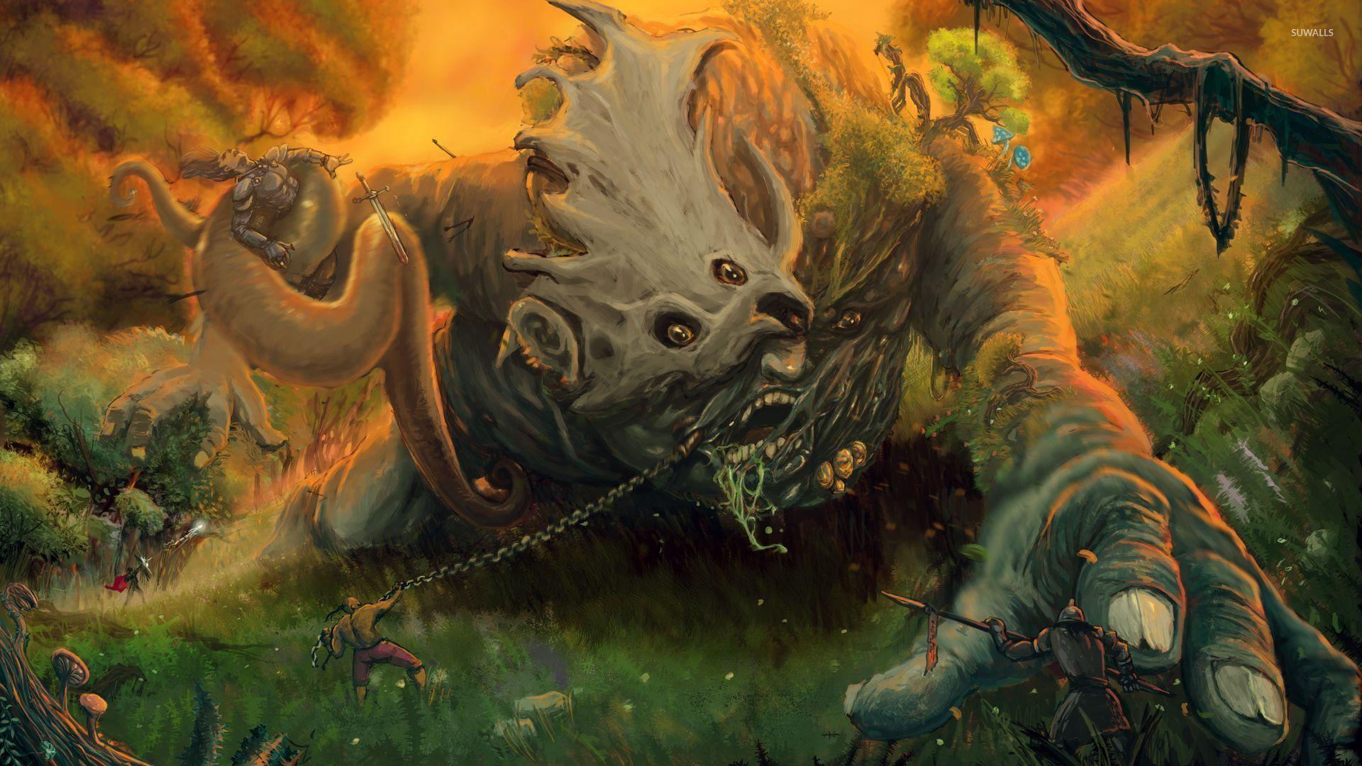 Green Tree Monster Wallpaper Fantasy Wallpapers 53922
