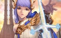 Warrior girl with purple hair wallpaper 1920x1200 jpg
