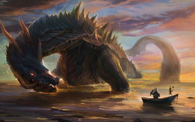 Warrior in a small boat fishing the giant dragon wallpaper