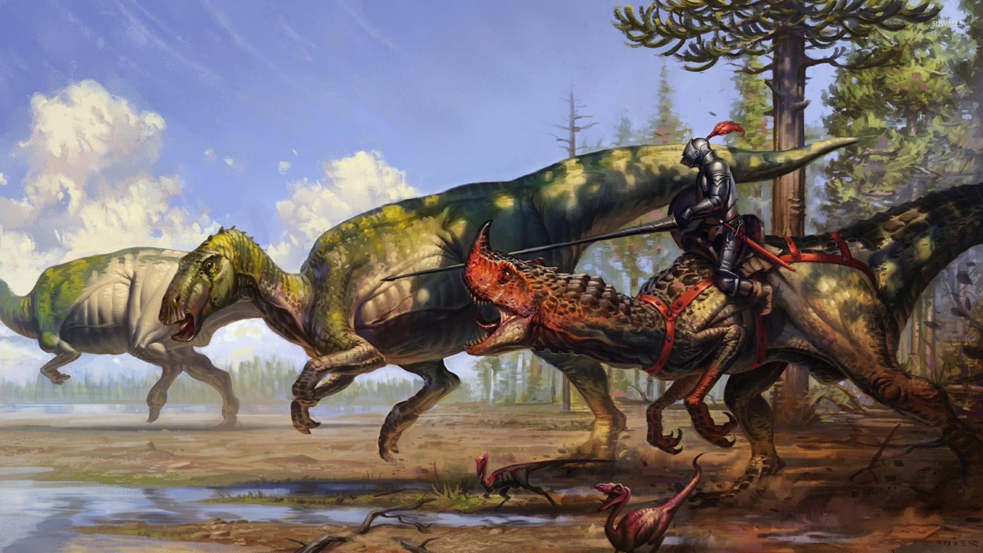 Warrior on a dinosaur wallpaper - Fantasy wallpapers - #34871