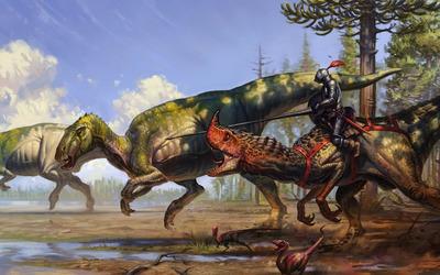 Warrior on a dinosaur wallpaper