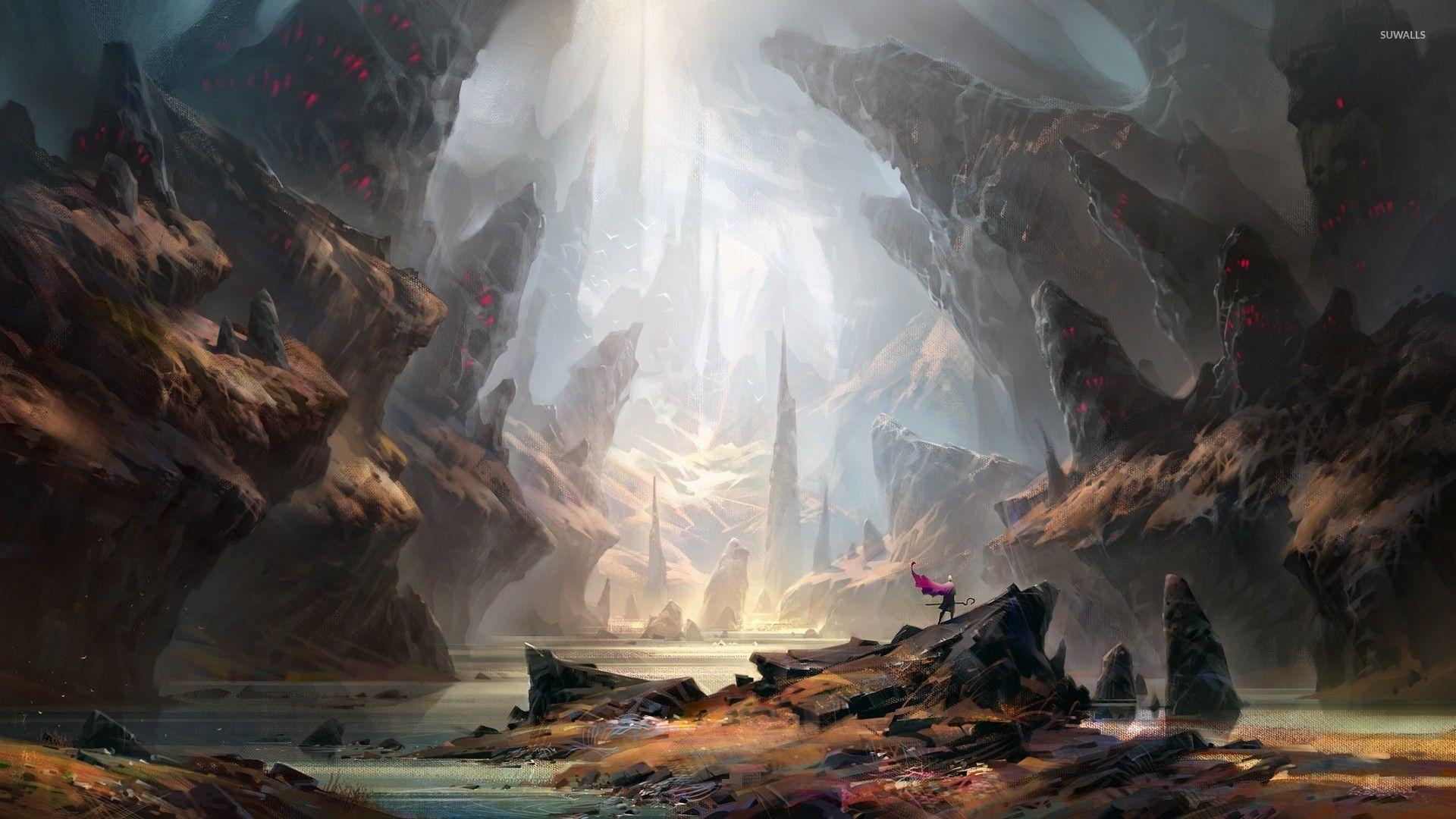 Warrior Under The Light In Cave Wallpaper