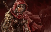 Warrior with a red hood wallpaper 2560x1600 jpg