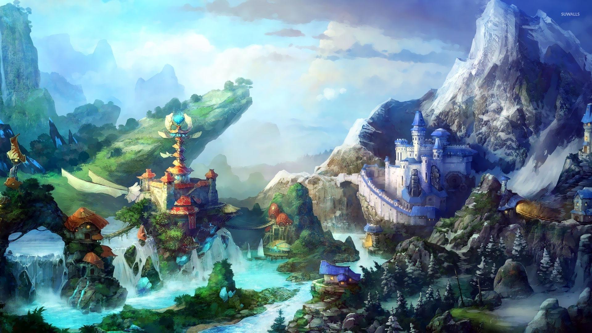 Waterfall city wallpaper fantasy wallpapers 18626 waterfall city wallpaper voltagebd Gallery