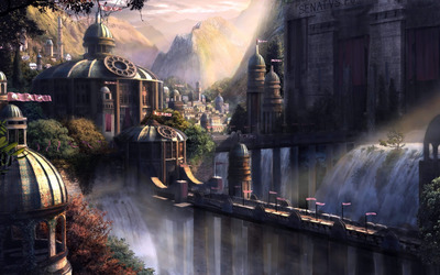 Waterfall in the city wallpaper
