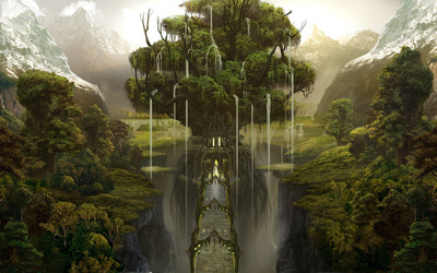 Waterfall tree wallpaper