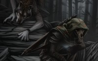 Werewolf and a skeleton in the dark forest wallpaper 2560x1600 jpg