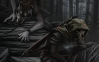 Werewolf and a skeleton in the dark forest wallpaper 2560x1600 jpg