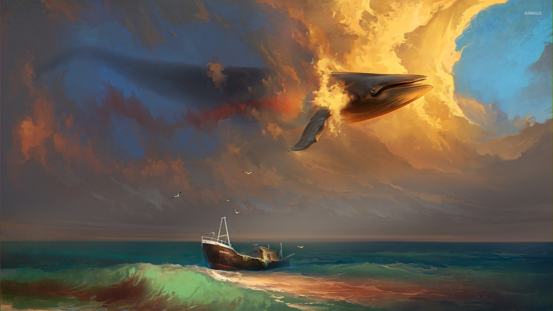 whale in the sky wallpaper - fantasy wallpapers - #16192