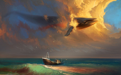Whale in the sky wallpaper