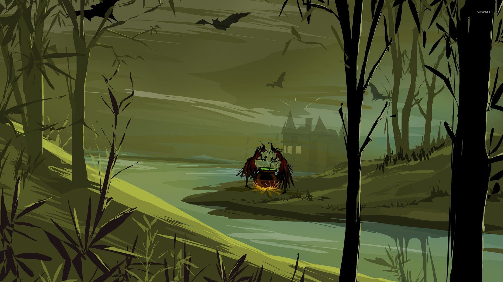 Witches Preparing The Potion In The Forest Wallpaper