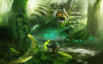 Wizard facing the monster in the forest Wallpaper