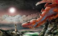 Woman and a red dragon wallpaper 1920x1080 jpg